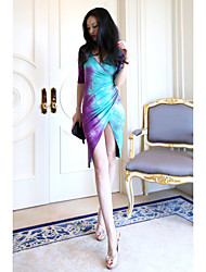 Amazon 3807 # AliExpress ebay foreign trade new tie-dye dress sexy Slim split