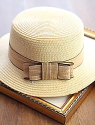 Для женщин Очаровательный На каждый день Панама Соломенная шляпа Шляпа от солнца,Лето осень Хлопок Соломка Однотонный