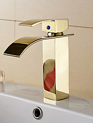 Contemporary Art Deco/Retro Modern Vessel Waterfall with  Ceramic Valve Single Handle One Hole for  Ti-PVD , Bathroom Sink Faucet