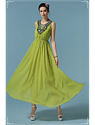 Li jiang chunxiao ручной бисером шифон платье зеленый праздник новый большой swing юбка