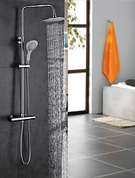 Contemporary Art Deco/Retro Modern Shower System Thermostatic Rain Shower Handshower Included with  Ceramic Valve Two Handles Two Holes