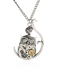Vintage Ornate 3D Owl Moon Watch Clock Hand Gear Steampunk Fancy Dress Necklace-Owl