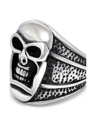 Vintage Titanium Steel Jewelry Make Old Technology Punk Ring Black Silver Skull Biker Rings Tattoo Accessories