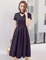 2017 primavera nova feminina cintura preto halter v-pescoço foi vestido de verão fino hepburn retro pouco vestido preto