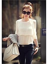 2014 Korean Hitz sweet temperament nude color layers of lotus leaf pleated sleeve shirt Slim wild