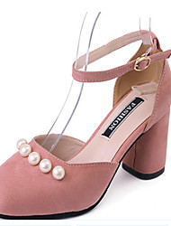 Women's Sandals Spring Summer Comfort Novelty Fleece Spandex Fabric Wedding Dress Casual Chunky Heel Pearl Buckle
