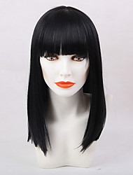 Attractive Bangs Black Long  Hair Synthetic Wig
