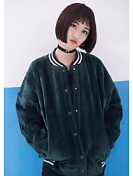 Feminino Jaqueta Casual Simples Fofo Primavera Outono,Sólido Padrão Algodão Colarinho Chinês Manga Longa Detalhes em Pêlo