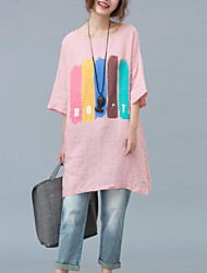2017 summer new large size women loose cotton casual long section of lovely pink T-shirt printing