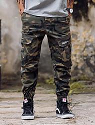 Masculino Simples Cintura Média Micro-Elástico Chinos Calças,Solto Harém Camuflagem