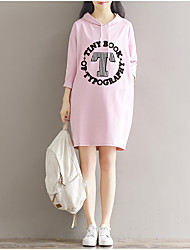Women's Casual/Daily Tunic Dress,Letter Hooded Above Knee Long Sleeve Cotton Spring Summer Mid Rise Micro-elastic Medium