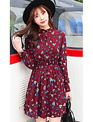 Spring leaf print chiffon dress big yards long sleeve bottoming floral skirt autumn and winter