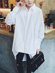 Men's Casual/Daily Simple Sophisticated Shirt,Solid Shirt Collar Long Sleeve Cotton