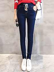Signer la version coréenne très mince taille élastique jeans mince crayon pantalons pantalons marée féminine