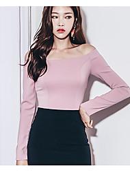 Tee-shirt Femme,Couleur Pleine Sortie Travail Sexy Manches Longues Epaules Dénudées Rayonne
