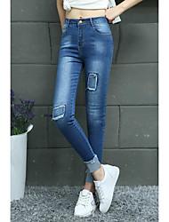 2017 primavera coreano versión del remiendo laminado pies anchos alto elástico delgado era delgado pies lápiz pantalones jeans estudiante