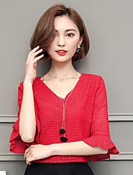 Знак весна и лето новые корейские ярды дикий сплошной цвет v-образный вырез рукав труба рукав кружевные рубашки блузки