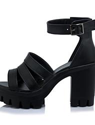 Women's Sandals Summer Gladiator Club Shoes Leatherette Office & Career Dress Casual Chunky Heel Block Heel Buckle