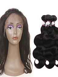 8A Indian Hair Weave 3 Bundles Body Wave with 360 Lace Frontal Band Closure
