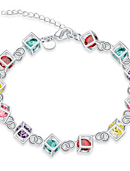 Exquisite Silver Plated Colorful Crystal Water Cube Style Chain & Link Bracelets Jewellery for Women Accessiories