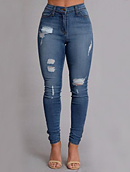 Women's Slim Jeans Pants,Casual/Daily Street chic Solid Ripped High Rise Zipper Button Polyester Micro-elastic Summer Fall