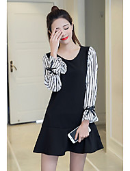 Sign 2017 new spring models was thin a word skirt spring student College Wind long-sleeved dress women