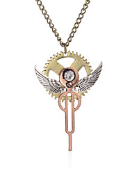 Wing Key Gear Steampunk Necklace Vintage Gothic Jewelry-Bronze