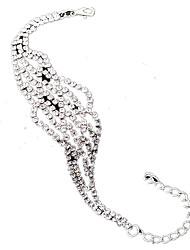 Mulheres Pulseiras em Correntes e Ligações Strass Liga Moda Forma Geométrica Dourado Prata Jóias 1peça