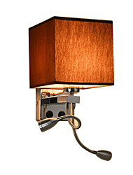 Wall Lights with Led Reading Light and On/off Switch Metal with Fabric shade, E27 Bulb not included