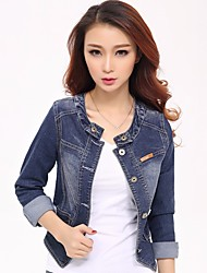 Women's Going out Cute Spring Denim Jacket,Solid Round Neck Long Sleeve Short Others