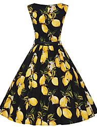 Balançoire Robe Femme Sortie Décontracté / Quotidien Vacances Vintage Mignon,Fleur Col Ras du Cou Mi-long Sans Manches Coton Polyester Eté