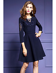 Women's Casual/Daily Sophisticated Loose Dress,Solid Round Neck Above Knee Long Sleeve Others All Seasons Mid Rise Micro-elastic Medium