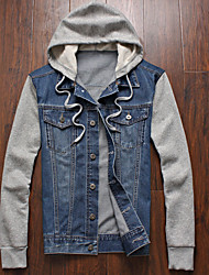 Men's Going out Casual/Daily Simple Street chic Spring Fall Denim Jacket,Color Block Hooded Long Sleeve Regular Cotton