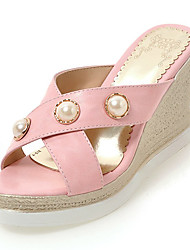 Women's Sandals Spring Summer Slingback Comfort Leatherette Outdoor Dress Casual Wedge Heel Beading Imitation Pearl