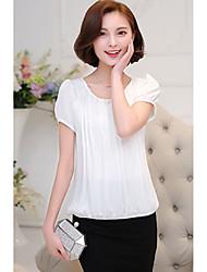 2016 camisa de chiffon verão feminina camisa de manga curta coreano soltas grandes estaleiros em torno do pescoço hedging era de camisa