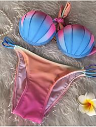 Women's Halter Bikini Color Block,Push-up Cotton Color Block