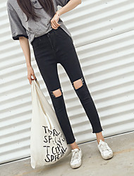 Sign Autumn Women Korean retro high waist black and gray knee cut loose wild student jeans feet