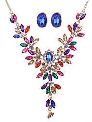 Ensemble de bijoux Cristal Strass Cristal Strass Alliage Mode Personnalisé euroaméricains Bijoux Arc-en-ciel Collier / Boucles d'oreilles