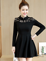 Um pouco vestido preto audrey hepburn primavera-tipo de mangas compridas rendas costura cintura slim vestido retro