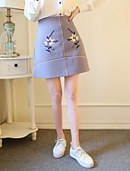 2017 spring models retro sweet embroidered flowers wild Slim skirts skirt package hip little fresh