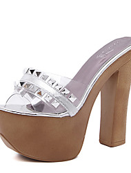 Women's Sandals Summer Club Shoes Rubber Dress Chunky Heel Rivet