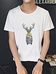 Олень напечатал шею с короткими рукавами футболку корейских мужчин ветер aberdeen