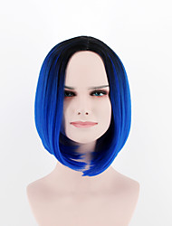 Europe and the United States new fashion wig short hair  breathable wig black Blue omber  Synthetic Fiber wig