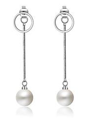 S925 Silver Circle Fringe Pearl Earrings