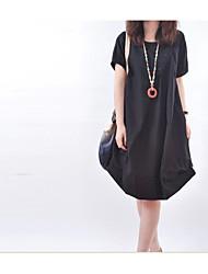 Spot 2015 été nouvelles femmes coréennes grands yards loose casual ronde cou manches courtes plis