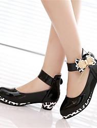 Femme-Décontracté-Noir Rose-Gros Talon-Flower Girl Chaussures-Bottes-Polyuréthane