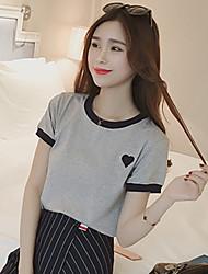 2017 lose kurz-sleeved T-Shirt weibliche koreanische Stickerei Kurzhülse T-Shirt mitleidsvolle Normallack Kleid Frauen&# 39; s Sommer