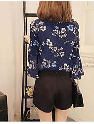 2017 Speaker sleeve floral chiffon shirt Korean loose blouse Spring Sleeve shirt retro