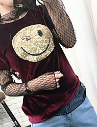 signe version féminine t-shirt à manches courtes tache coréenne du nouveau printemps et l'été 17 smiley face or chemise de velours à