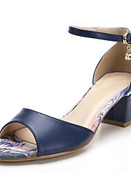 Damen-Sandalen-Büro Kleid Lässig-PU-Blockabsatz-Zehenring-Hellgrau Blau